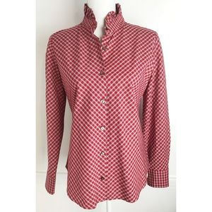 Pendleton•Red Plaid Ruffle Collar Button Up Blouse